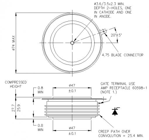 تریستور فست دیسکی 1275 آمپر 1800 ولت R1275NC18J وستکد